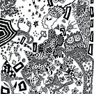 Crazy boy flyimg in trippy mess by Brian Scolnick
