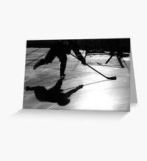 Hockey Shadows Greeting Card