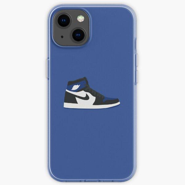 Jordan 1 blanco negro azul Funda blanda para iPhone