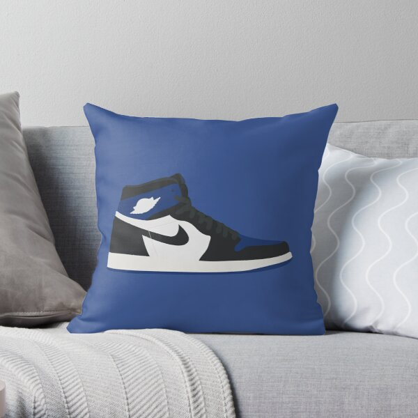 Jordan 1 white black blue Throw Pillow