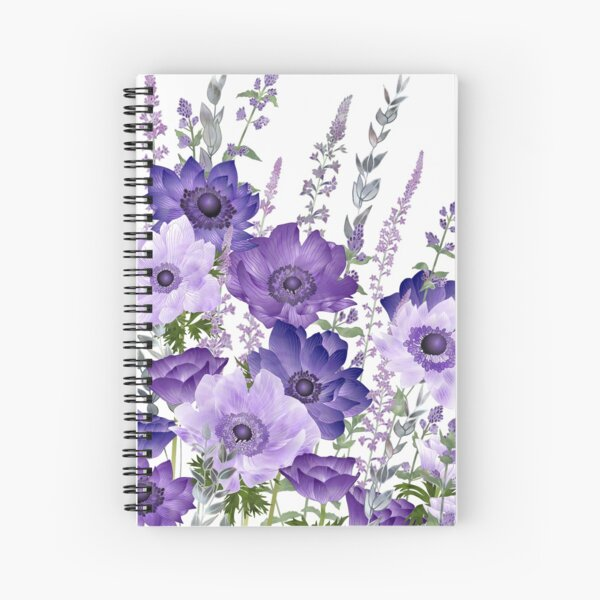 Purple Anemones & Catmint Flowers Spiral Notebook