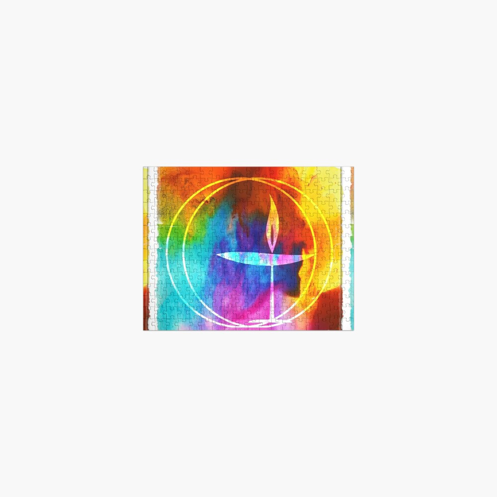 UU Watercolor Flaming Chalice Jigsaw Puzzle