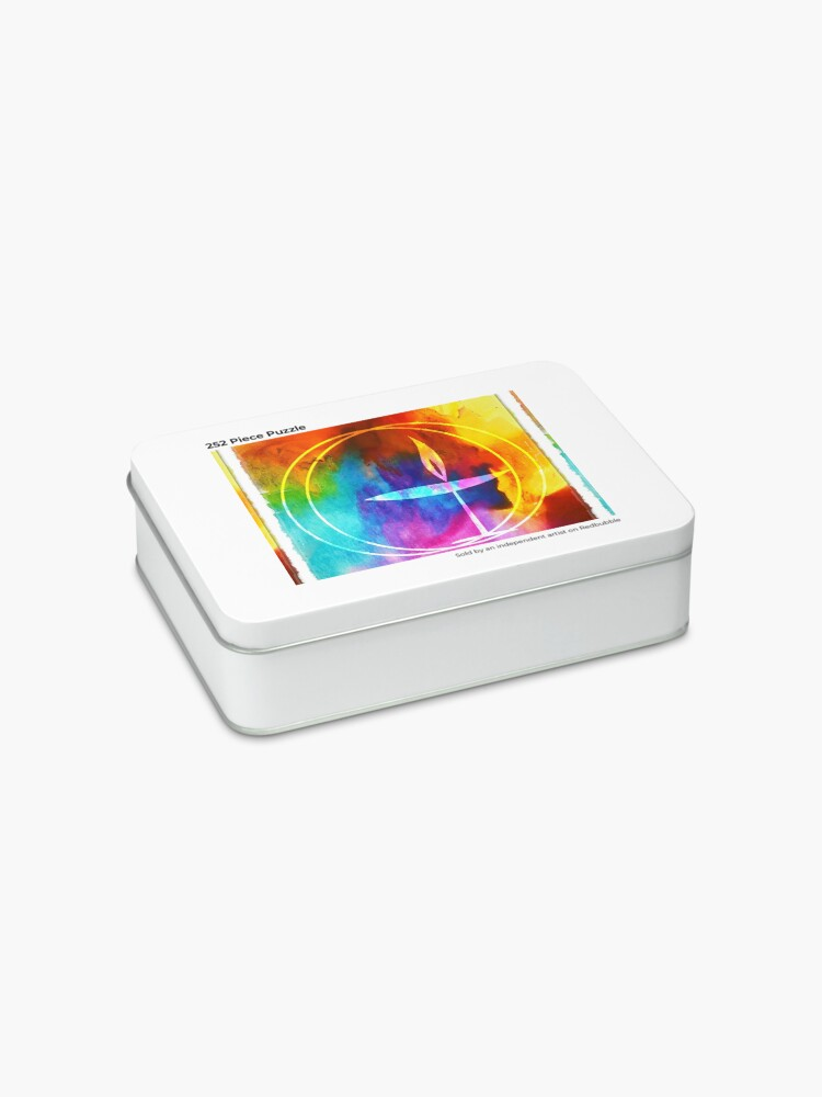 Alternate view of UU Watercolor Flaming Chalice Jigsaw Puzzle