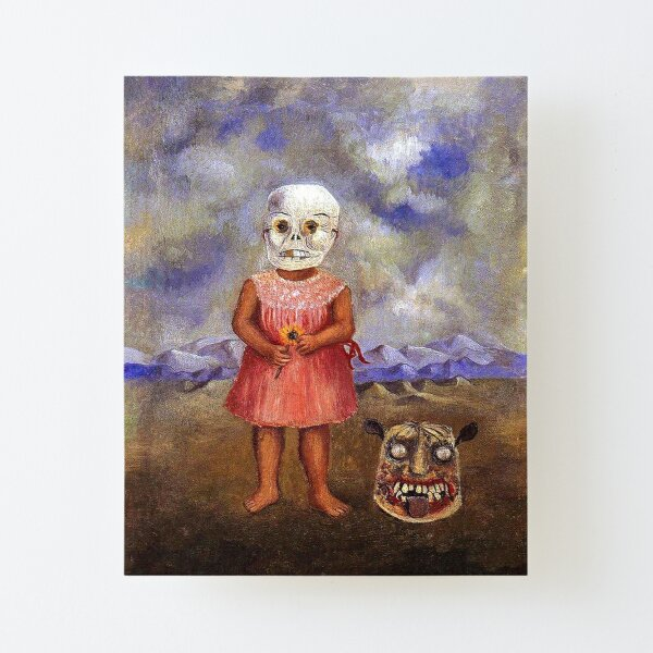 Girl with Death mask by Frida Kahlo Canvas Mounted Print