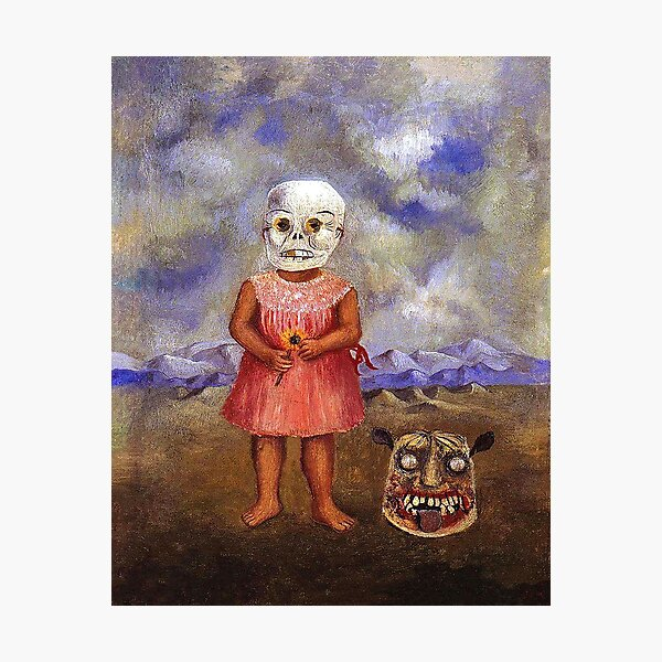Girl with Death mask by Frida Kahlo Photographic Print