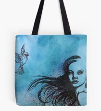 Girl with Bird in Blue Tote Bag