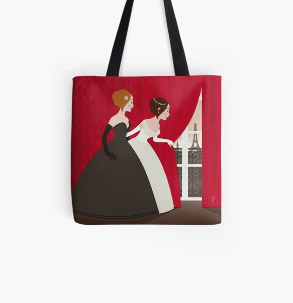 Curious fairy tale girl with a view of Paris All Over Print Tote Bag