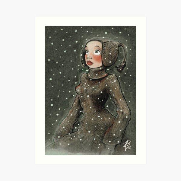 Winterwunder (Mädchen, das sich über den ersten Schnee des Winters freut) Kunstdruck