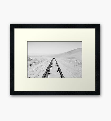 Travelling Dunes | Crossing the Rail-Tracks Framed Print