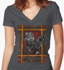 Louis Armstrong Women's Fitted V-Neck T-Shirt