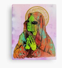 Praying Alien Metal Print