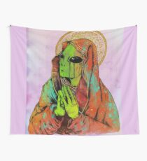 Praying Alien Wall Tapestry