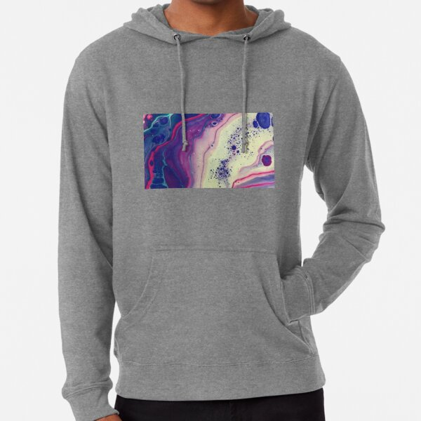 Blue Acrylic Pour Abstract Merchandise Lightweight Hoodie
