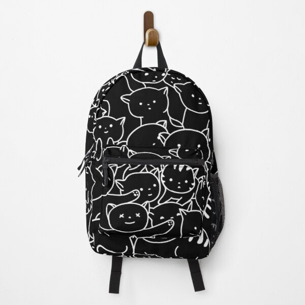 A Bunch of Kitty's Making Huge Pile Of Cute Cats (Simple White Design) Cat Pattern Backpack