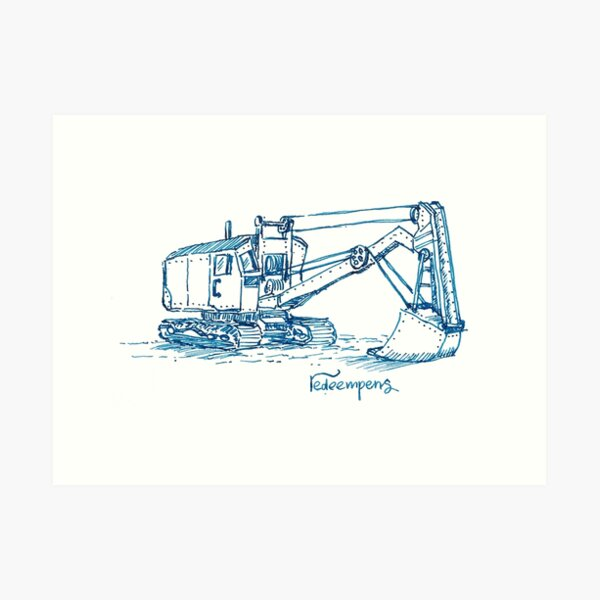 Steam Powered Digger Art Print