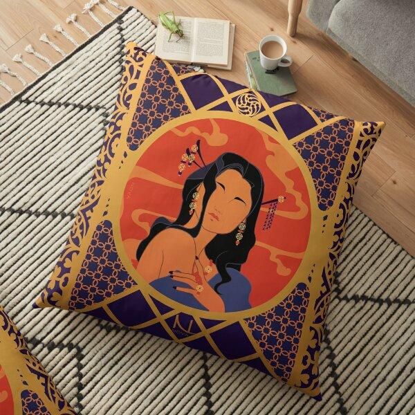 Rosace de l'Asie - Illustration Art Nouveau Coussin de sol