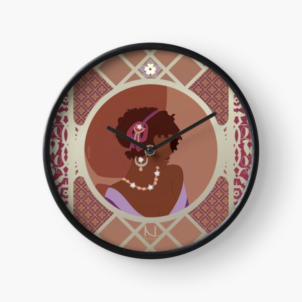 Rose d'Afrique - Illustration Art Nouveau Horloge