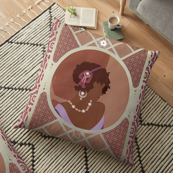 Rose d'Afrique - Illustration Art Nouveau Coussin de sol