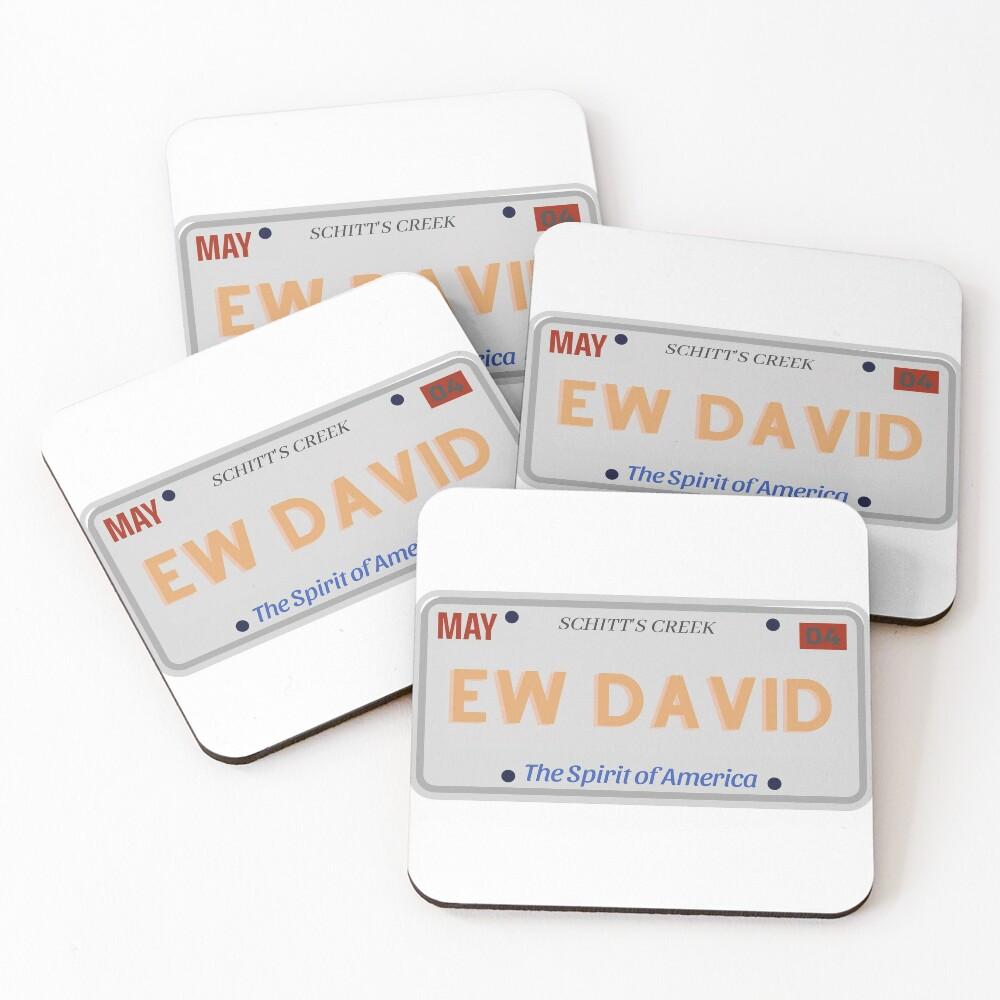 Ew David License Plate Schitt's Creek Coasters (Set of 4)