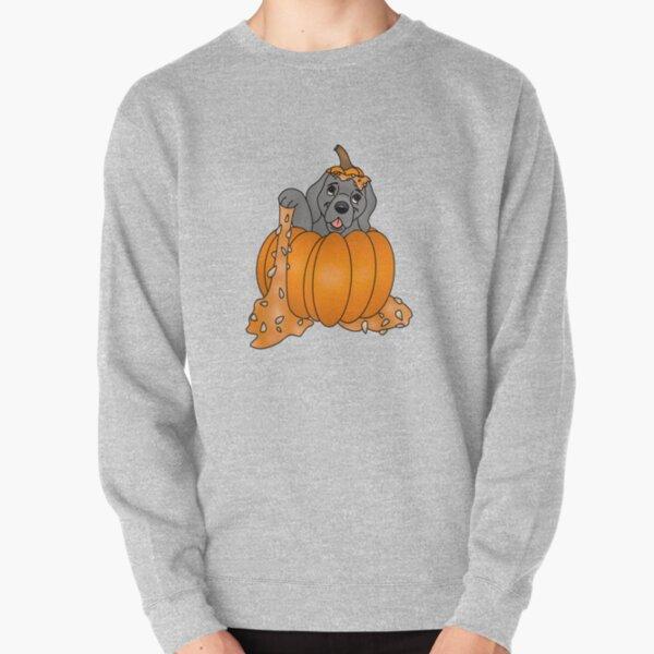 Cartoony Puppy in a Pumpkin Design Pullover Sweatshirt