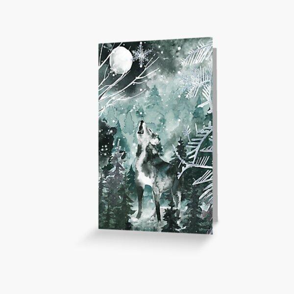 Winter wolf moon Greeting Card
