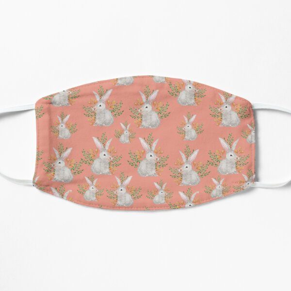 Bunny Rabbits In The Wild Pattern With A Peach Background Flat Mask