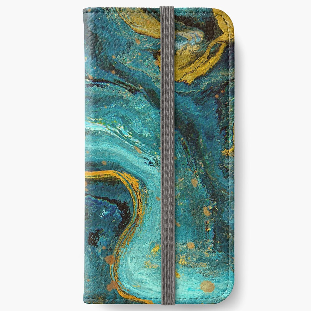 Green marble with a splash of gold iPhone Wallet