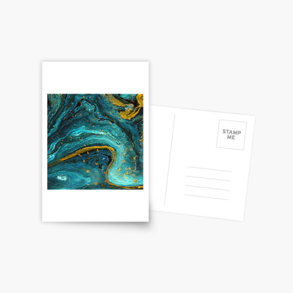 Green marble with a splash of gold Postcard