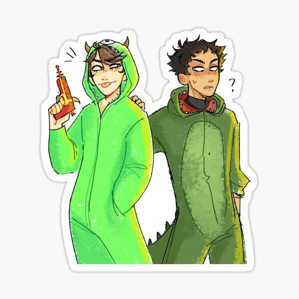 oikawa and iwa halloween Sticker