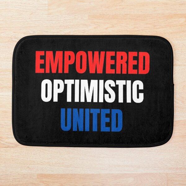Empowered, Optimistic, United Inspiring Patriotic Message Bath Mat
