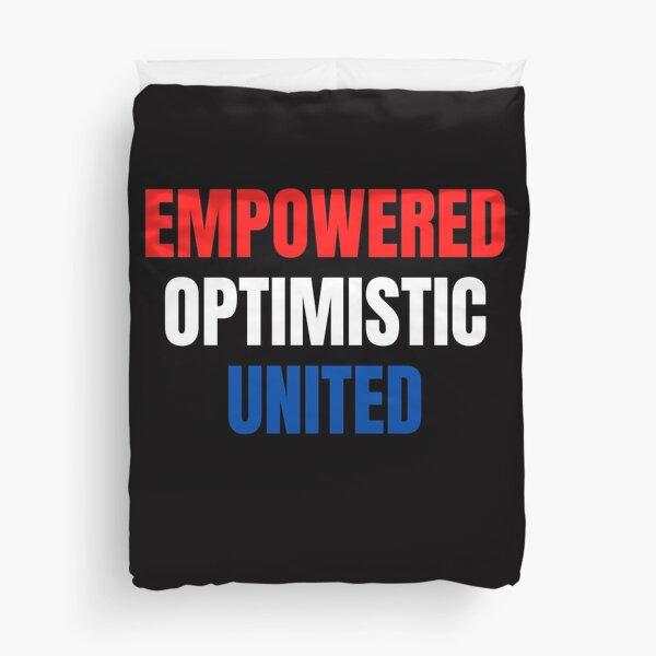 Empowered, Optimistic, United Inspiring Patriotic Message Duvet Cover
