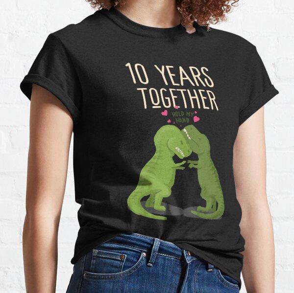 10 años juntos aniversario, camisetas a juego de T-Rex para el décimo aniversario de bodas Camiseta clásica