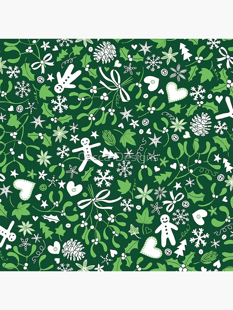 Mistletoe and Gingerbread Ditsy - Green and White - Christmas pattern by Cecca Designs by Cecca-Designs