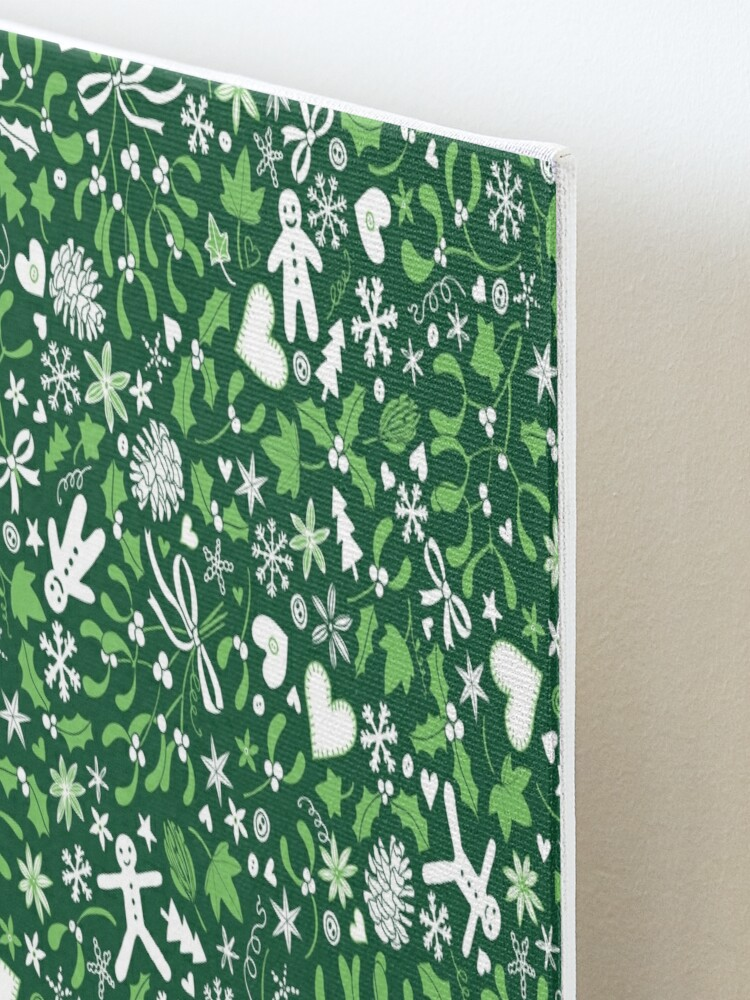 Alternate view of Mistletoe and Gingerbread Ditsy - Green and White - Christmas pattern by Cecca Designs Mounted Print