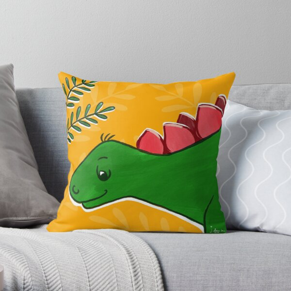 Little stegosaurus Throw Pillow