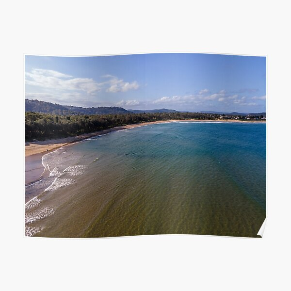 Afternoon aerial view over the beach with the sea and scattered clouds Poster
