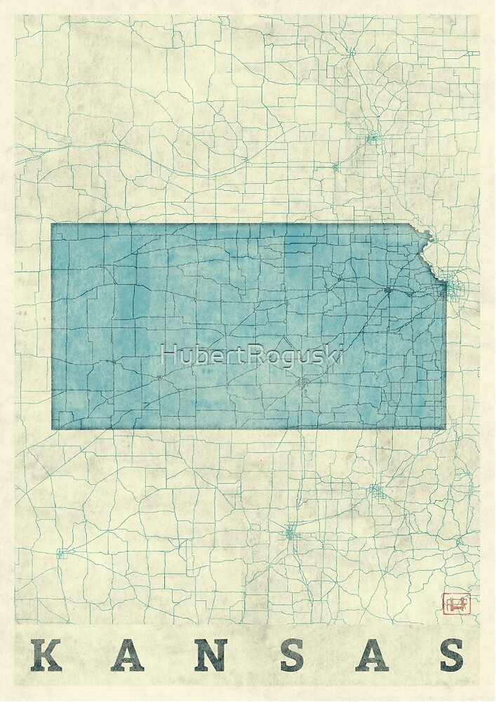 Kansas State Map Blue Vintage by HubertRoguski