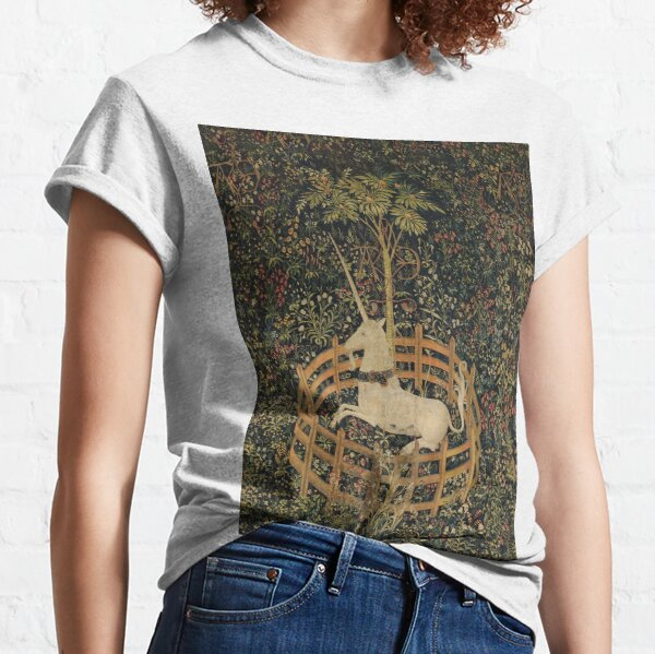 The Unicorn Tapestry (The Unicorn is in Captivity and No Longer Dead) Classic T-Shirt
