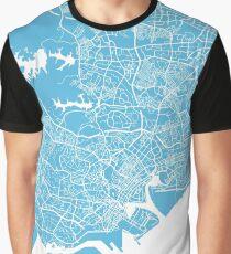 Singapore map blue Graphic T-Shirt