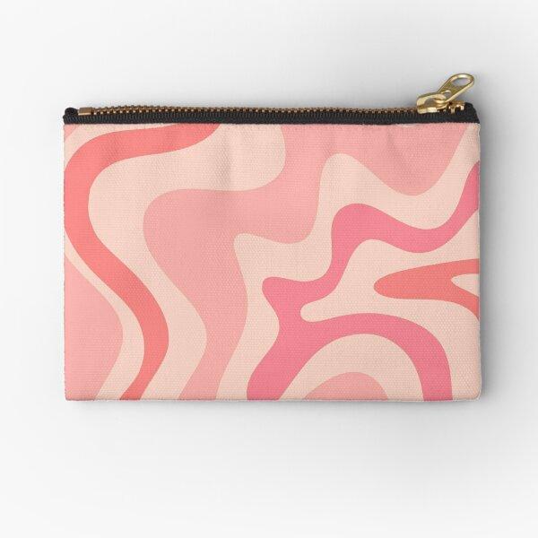 Liquid Swirl Retro Contemporary Abstract in Soft Blush Pink Zipper Pouch