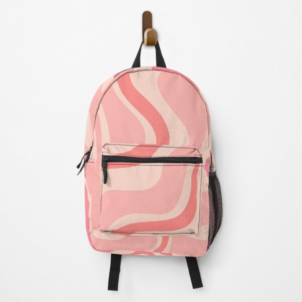 Liquid Swirl Retro Contemporary Abstract in Soft Blush Pink Backpack