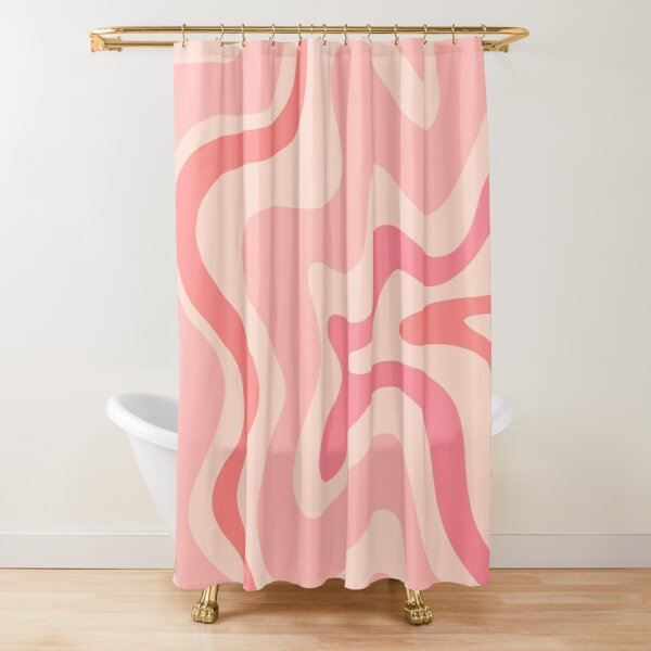 Liquid Swirl Retro Contemporary Abstract in Soft Blush Pink Shower Curtain