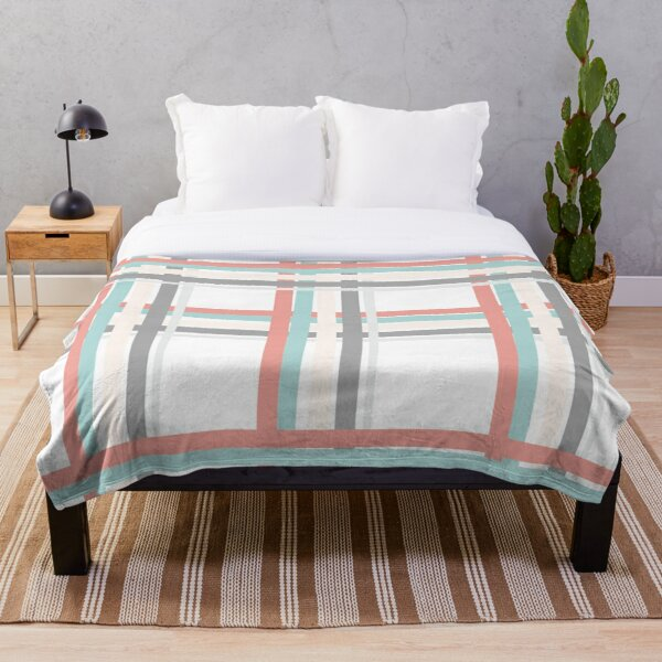 Pastel colored plaid Throw Blanket