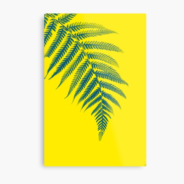 Green Leaf on the Yellow Background Metal Print
