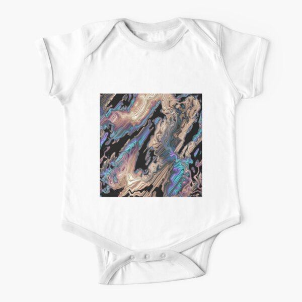 Colorful Acrylic Abstract Art Short Sleeve Baby One-Piece