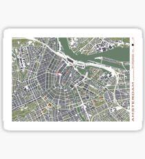 Amsterdam city map engraving Sticker