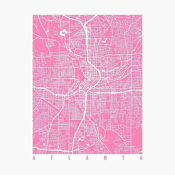 Atlanta map Georgia pink Photographic Print