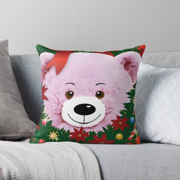 Cute pink teddy bear peeking out of a Christmas wreath with red bow Throw Pillow