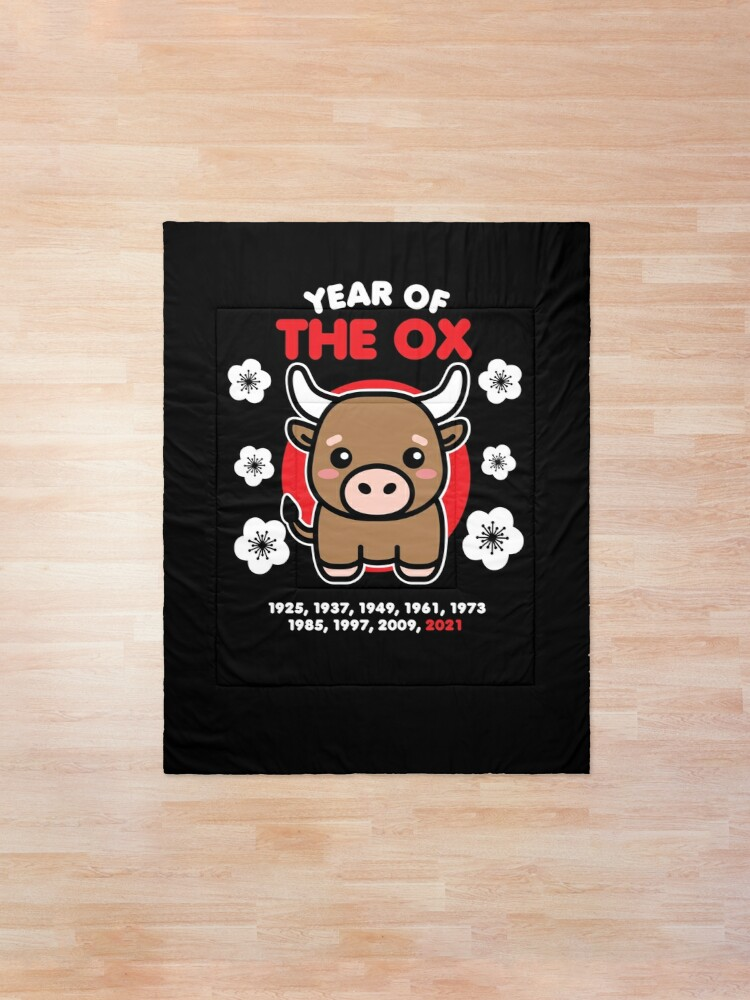 Alternate view of Year of the Ox 2021 Cute Kawaii Chinese New Year Animal Comforter