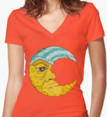 Old Man Moon Women's Fitted V-Neck T-Shirt